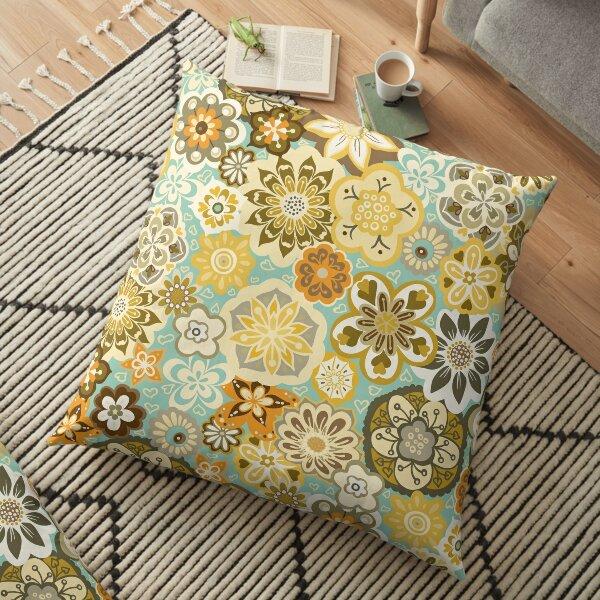 Beautiful Bouquet of Midsummer Blooms in teal, orange, yellow and brown Floor Pillow
