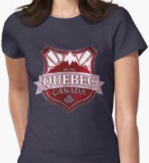 Bouclier grunge rouge du Québec Canada T-shirt col V femme