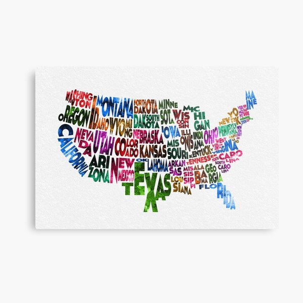 Typografische Karte der Vereinigten Staaten Metallbild