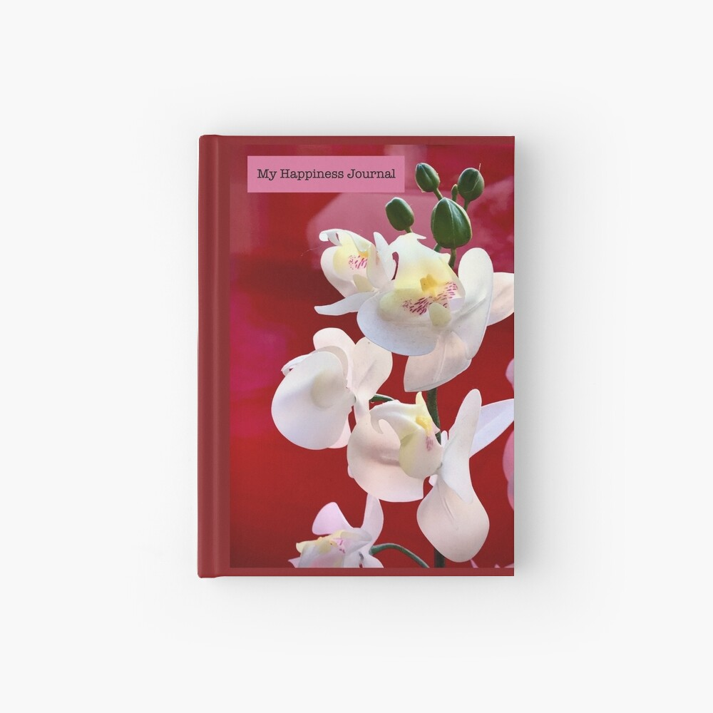 Happiness Journal White Orchids Hardcover Journal
