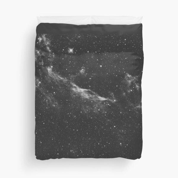Galaxy in Watercolor B+W Duvet Cover