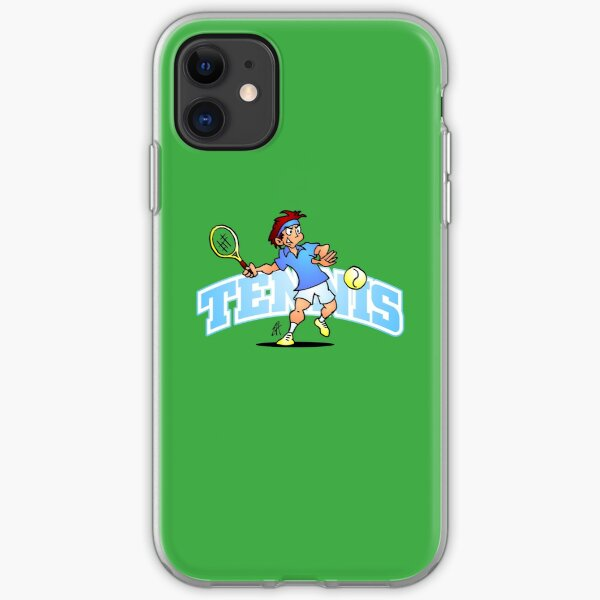 Tennis player hitting a forehand with text iPhone Soft Case