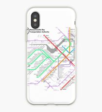 MBTA Boston Subway - The T (light background) iPhone Case