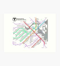 MBTA Boston Subway - The T (light background) Art Print
