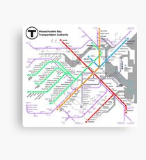 MBTA Boston Subway - The T (light background) Canvas Print
