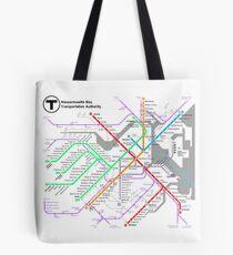 MBTA Boston Subway - The T (light background) Tote Bag