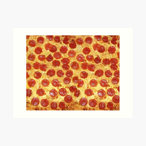 Delicious Pepperoni / Salami Pizza - Pattern with extra cheese Art Print