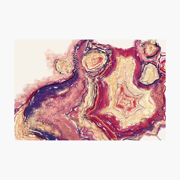 Warm Red Violet Pink 'n Gold Liquid Lines Photographic Print