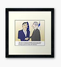 Caricatured Bibi and Romney Framed Print