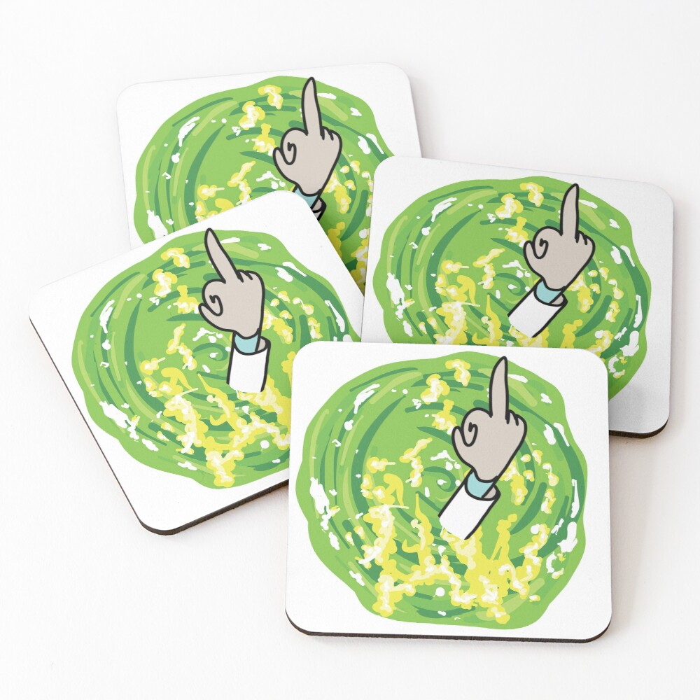 Rick Middle Finger Coasters (Set of 4)