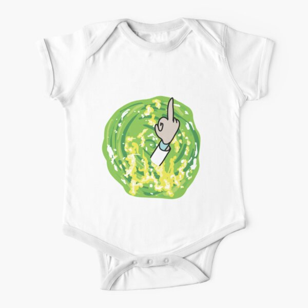 Rick Middle Finger Short Sleeve Baby One-Piece