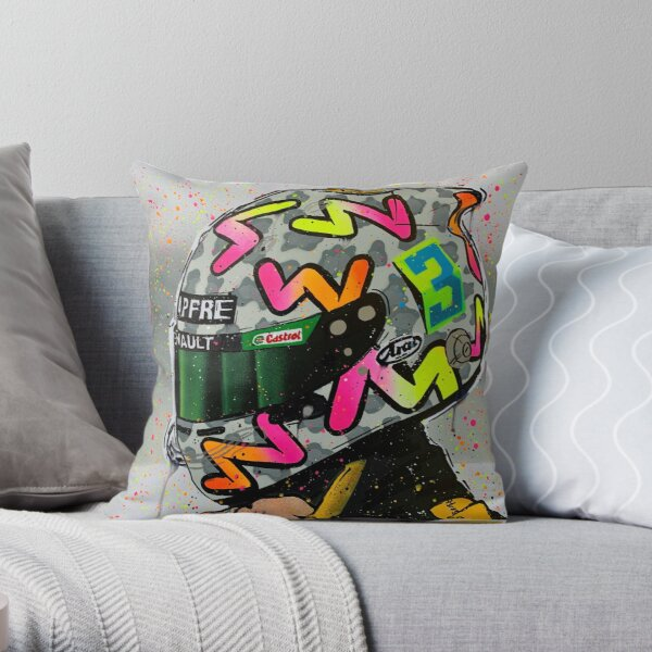 Daniel Ricciardo 2020 - Renault F1 graffiti painting by DRAutoArt Throw Pillow