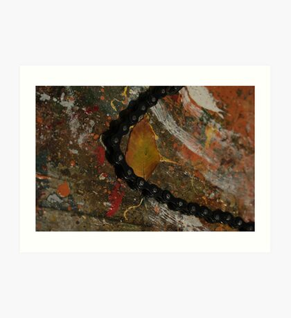 Early Leaf that fell by Garage Door Chain Art Print