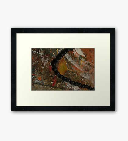 Early Leaf that fell by Garage Door Chain Framed Print
