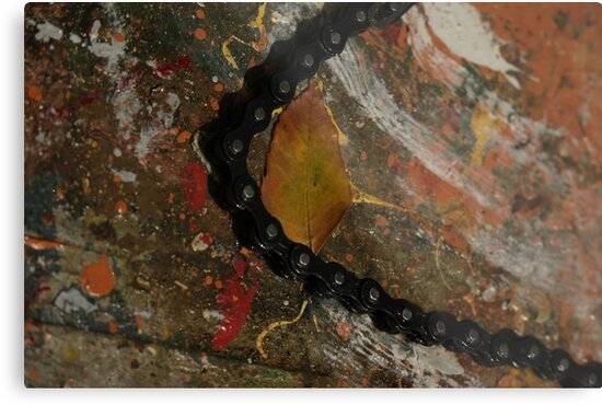 Early Leaf that fell by Garage Door Chain by Thomas Murphy