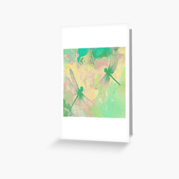 Green Painting Dragonflies Greeting Card
