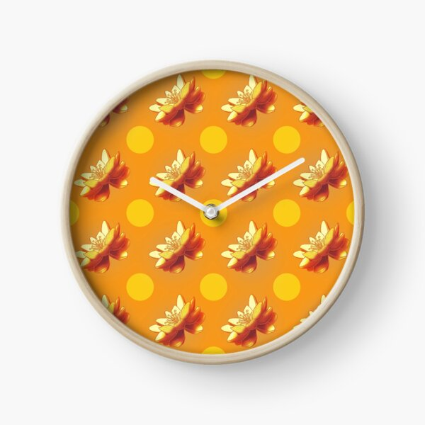 Dotted Lilies are gold Clock