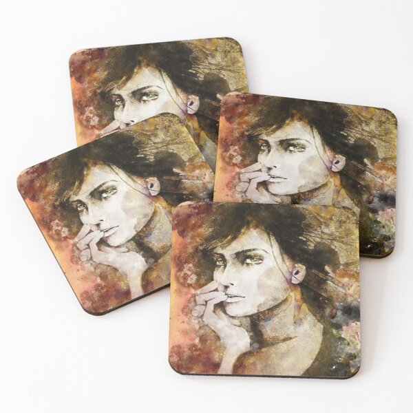 Abstract gold woman Coasters (Set of 4)