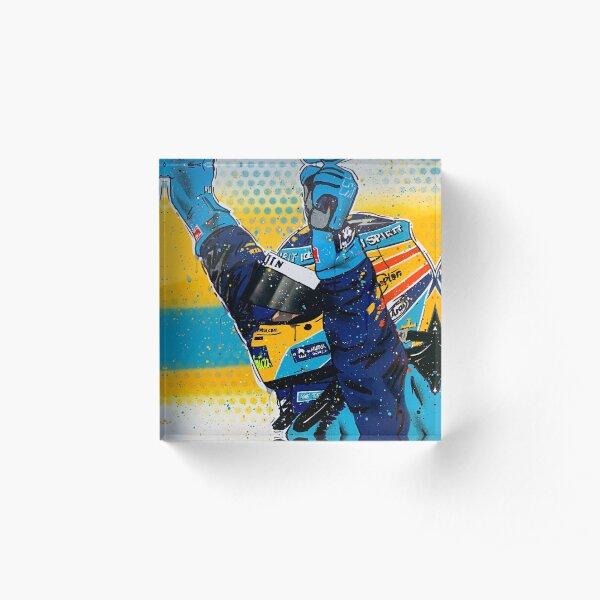 Fernando Alonso - Renault graffiti painting by DRAutoArt Acrylic Block