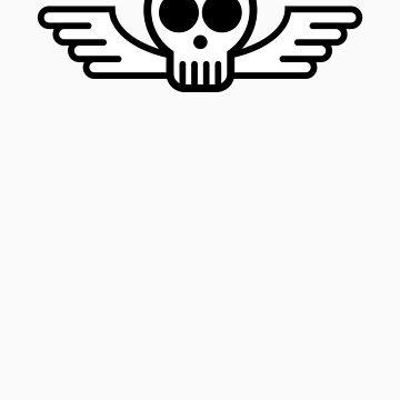 Skull with Wings (Black & White) by Bukowsky
