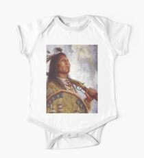 Warrior & his Winchester, Blackfoot, Native American Art, James Ayers Studios Short Sleeve Baby One-Piece