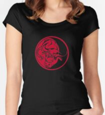 Bull Silhouette In Red Ink Tattoo Style Women's Fitted Scoop T-Shirt