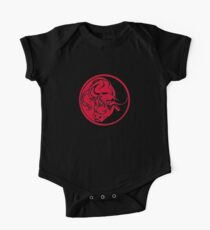 Bull Silhouette In Red Ink Tattoo Style Kids Clothes