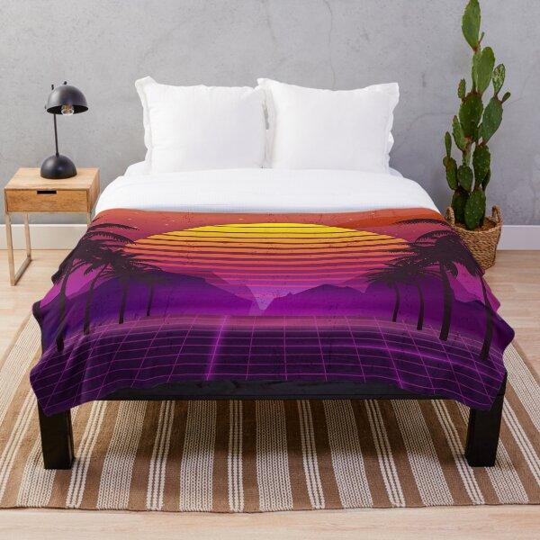 80's Palm Trees Sunset Vaporwave Throw Blanket