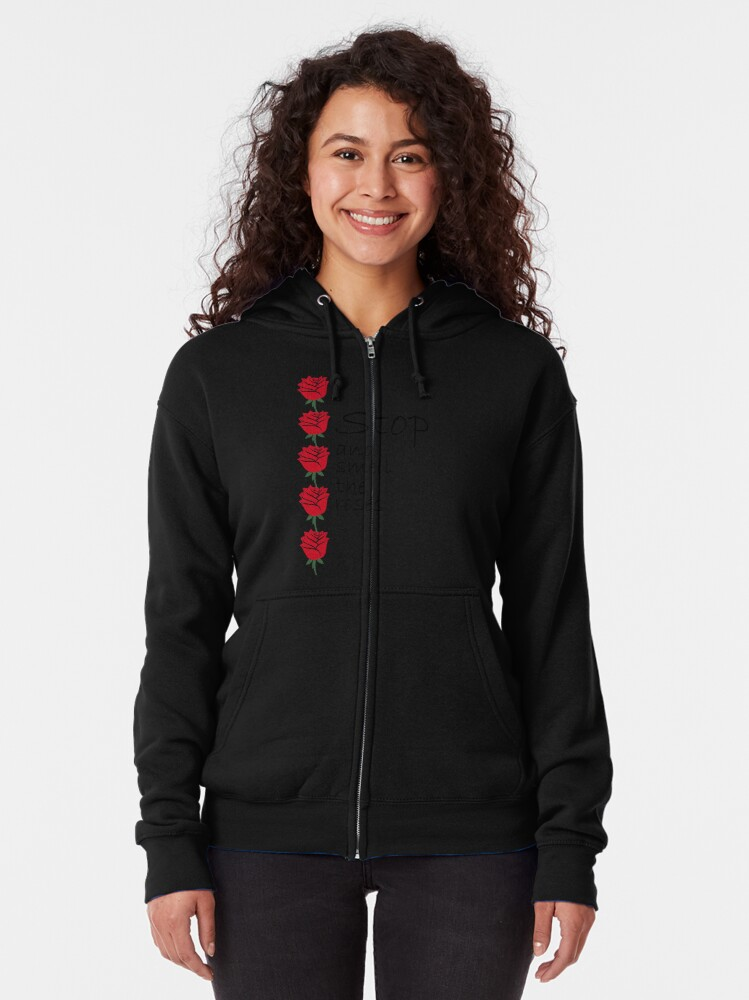 Alternate view of Stop and Smell the Roses Zipped Hoodie