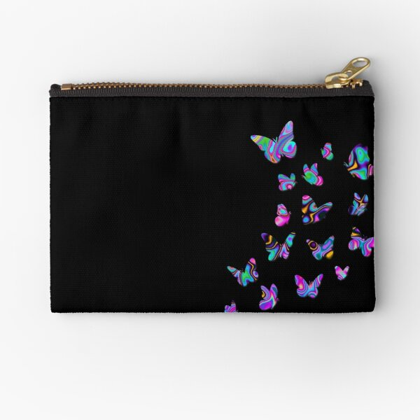 Butterflies, Butterfly, Cute Monarchs, Beautiful Draws, Colorful Insects, Black background Zipper Pouch