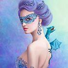 Fantasiewinterfrau, schöne Schneekönigin in der Maske mit blauem Drachen von Alena Lazareva
