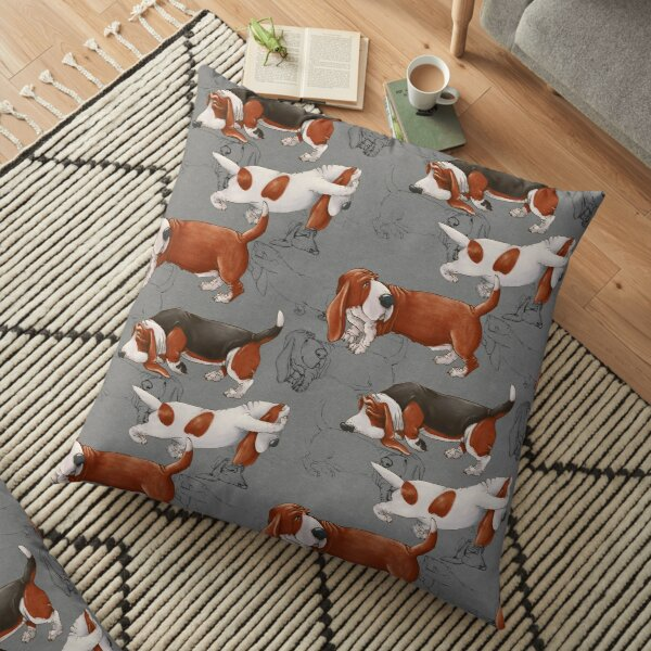 Cute Basset Hound. Funny dogs. Floor Pillow