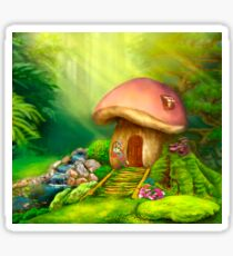 Fantasy mushroom cottage house on a colorful meadow Sticker