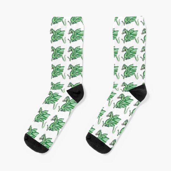 Asian Green Dragon and Flower Socks Mens Womens Personality Custom Casual Socks Creative Fashion Sports Crew Socks