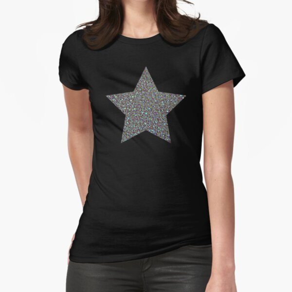 Silver Glitter Macro Star Fitted T-Shirt