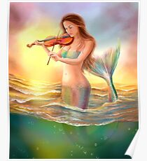 Beautiful  fantasy mermaid plays on violin on sunset Poster