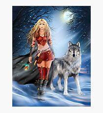 Fantasy Winter Warrior Princess and wolf Photographic Print