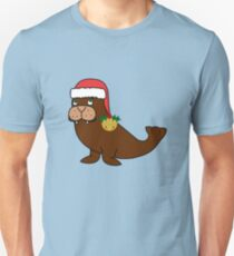 Christmas Walrus with Red Santa Hat, Holly & Gold Jingle Bell Unisex T-Shirt
