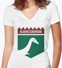 Dinosaur Family Crest: Alverezsauridae Women's Fitted V-Neck T-Shirt