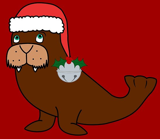 28107ab885829 Christmas Walrus with Red Santa Hat