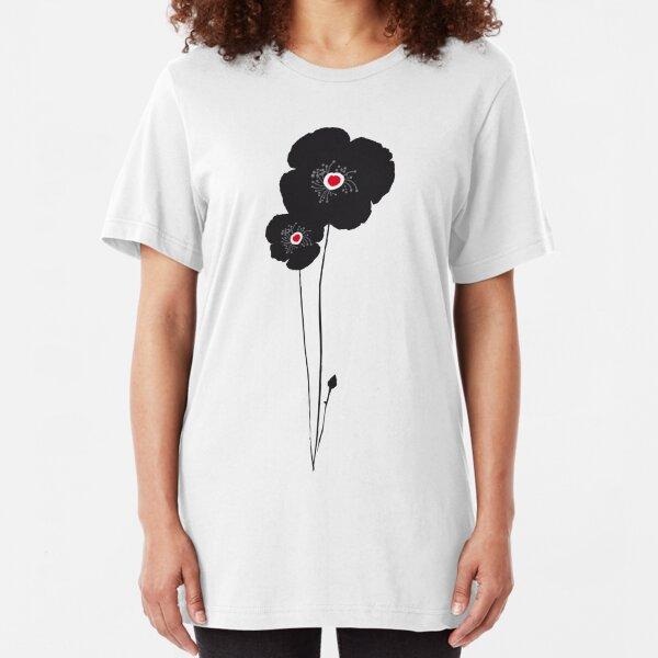 Black poppy / Coquelicot noir tee-shirt Slim Fit T-Shirt