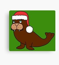 Christmas Walrus with Red Santa Hat Canvas Print