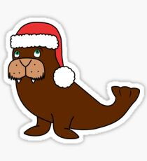 Christmas Walrus with Red Santa Hat Sticker