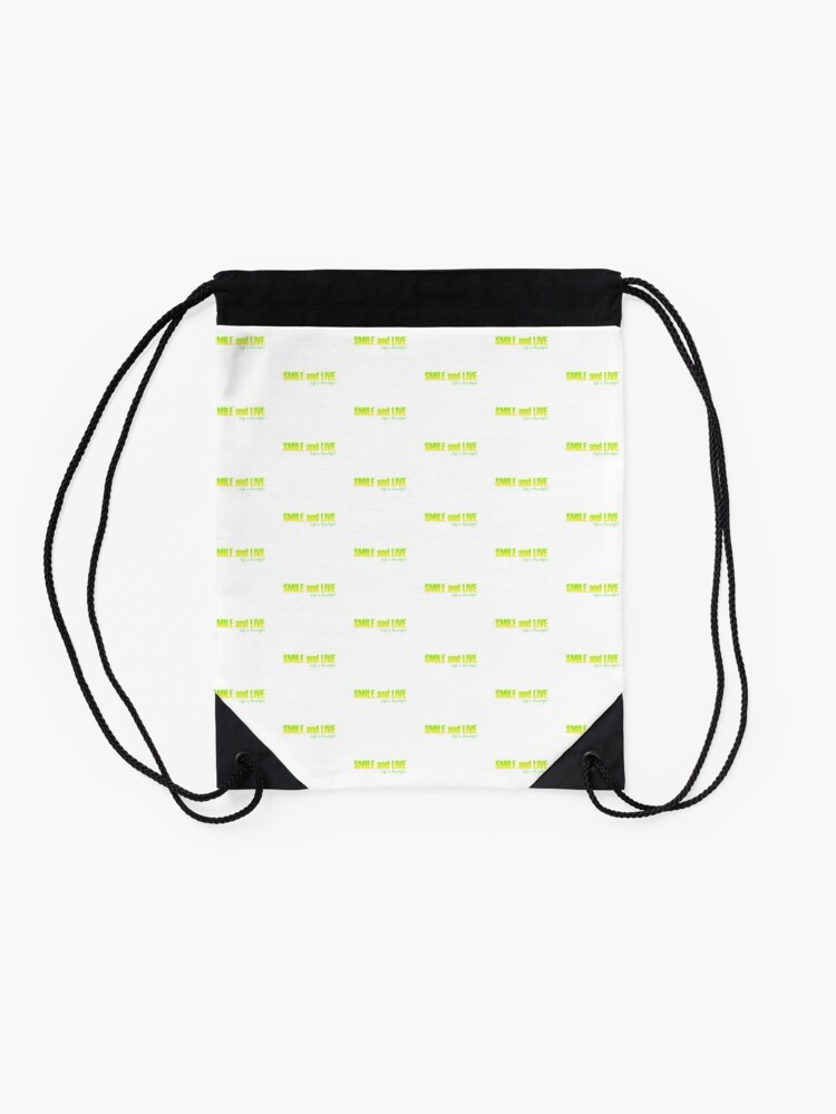 Alternate view of Smile and Live Drawstring Bag