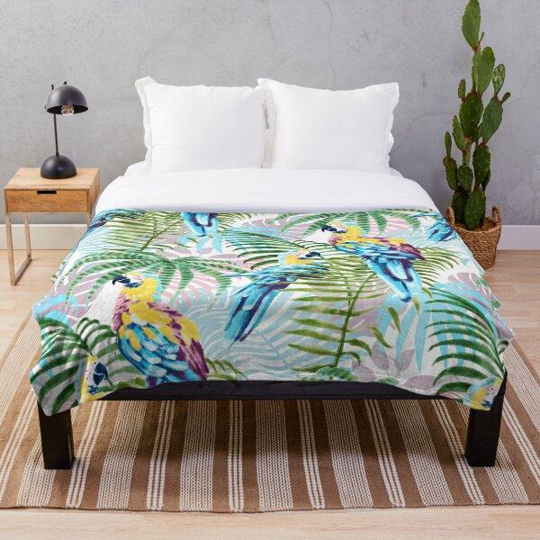 Parrot Jungle print Throw Blanket