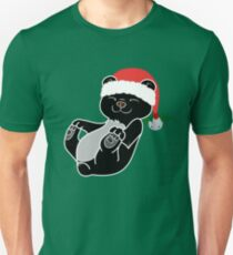 Christmas Black Bear with Red Santa Hat, Holly & Silver Bell T-Shirt