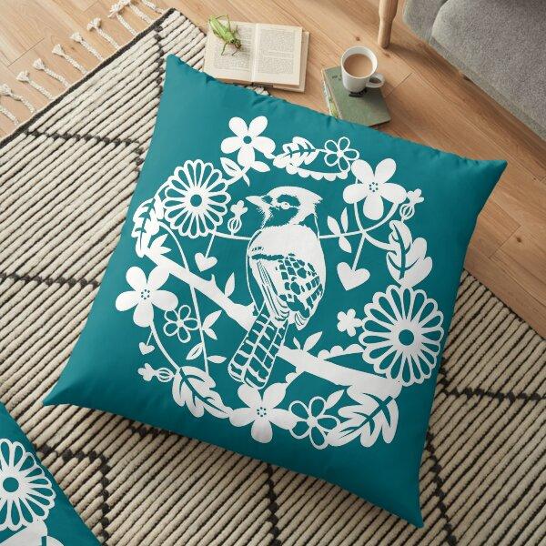 Floral Bird Wreath Floor Pillow