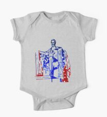 President Lincoln Statue In USA Flag Colors One Piece - Short Sleeve