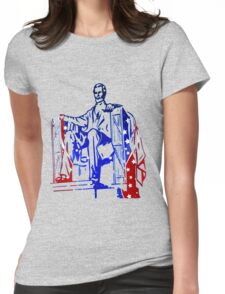 President Lincoln Statue In USA Flag Colors T-Shirt