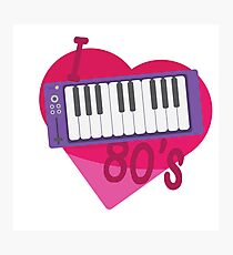 I Heart 80's Synth - Pink Photographic Print